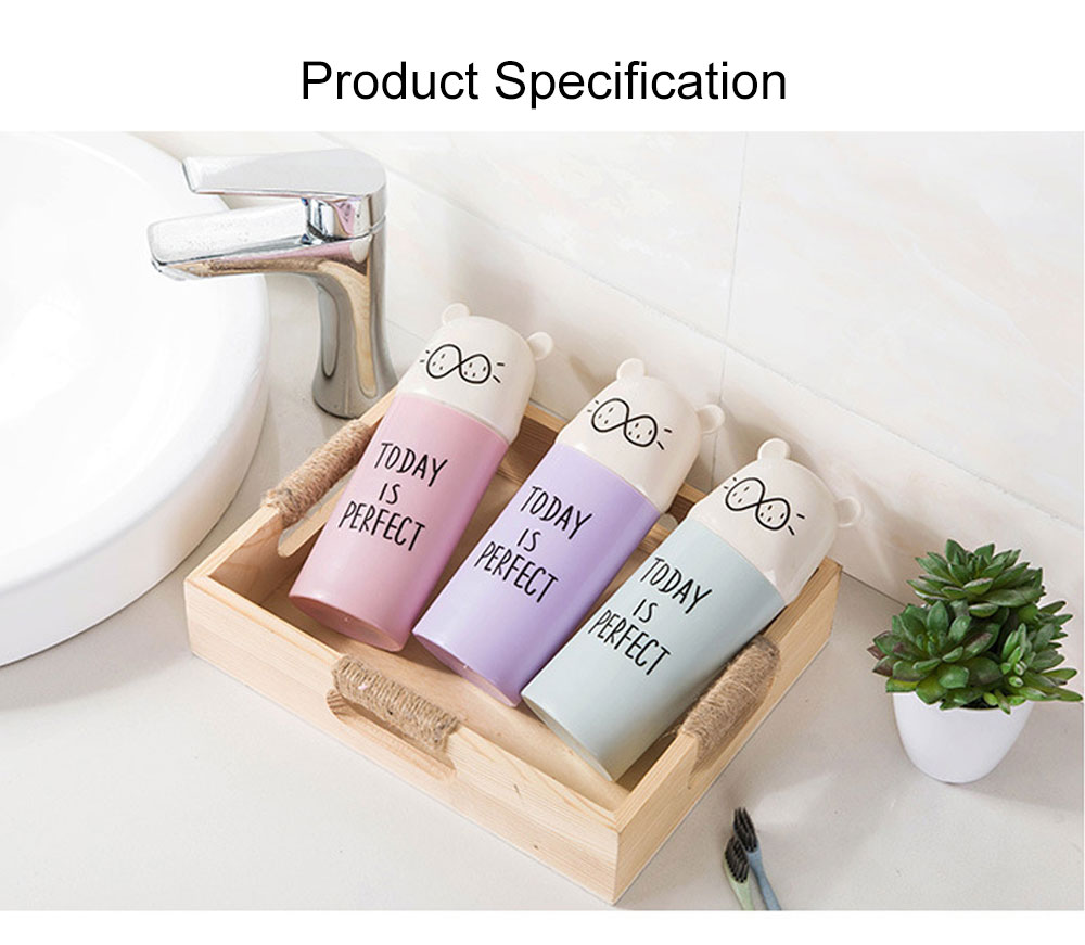 Cute Carton Portable Travel Toothpaste Toothbrush Holder, Breaking-proof PP Outdoors Toiletries Storage Case Cup 7