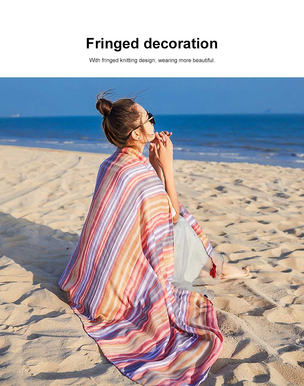 Summer cotton and linen ethnic wind tourism scarf, Holiday sunscreen scarf, Lady's Air Conditioning Shawl 2