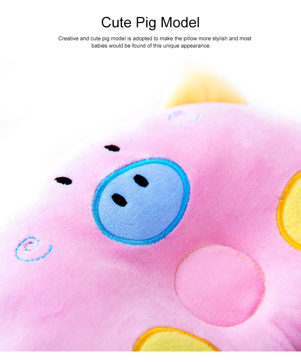 Cute Carton Pig Model Embroidery Anti-Roll Newborn Baby Pillow Soft Breathable Fluff Infant Prevent Flat Head Pillow 5