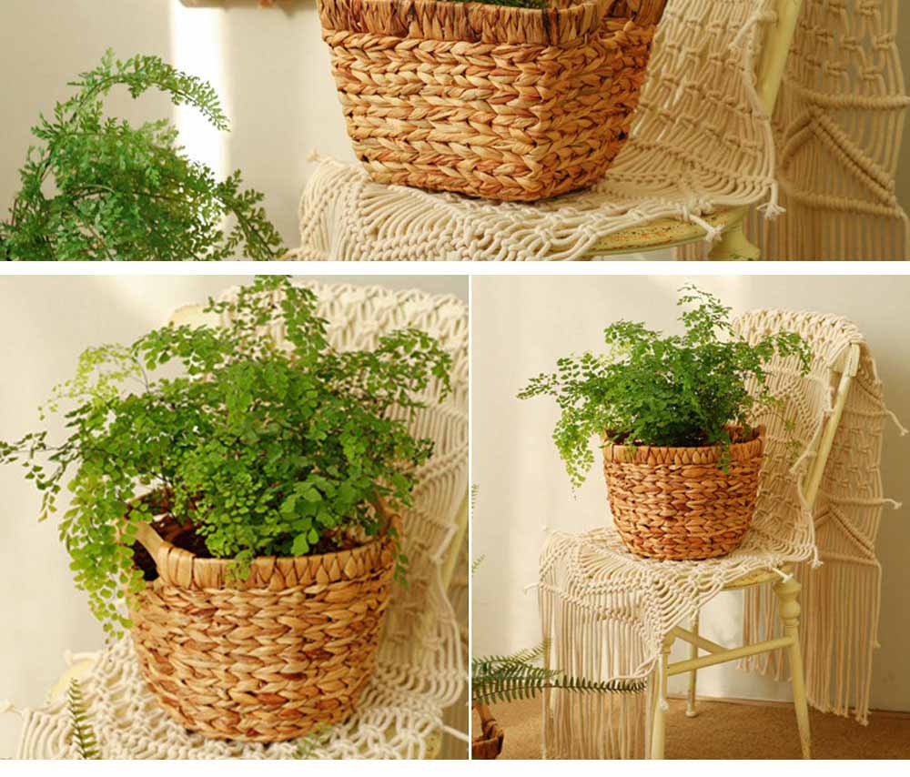 Creative Minimalist Garden Straw Weaving Flower Basket, Delicate Rattan Weaving Storing Basket Decoration with Double Handle 10