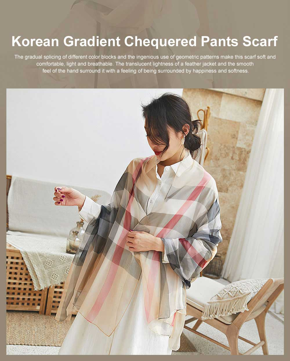 2019 Hot Gradient Grid Pants Scarf, New Sunscreen Scarf Shawl in Spring and Summer for Girl Lady 0