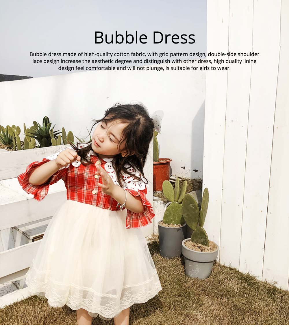 Plaid shirt Bubble Dress for Girls Double-side Shoulder Lace High-quality Cotton Fabric Lining Sweet Style One-piece 0