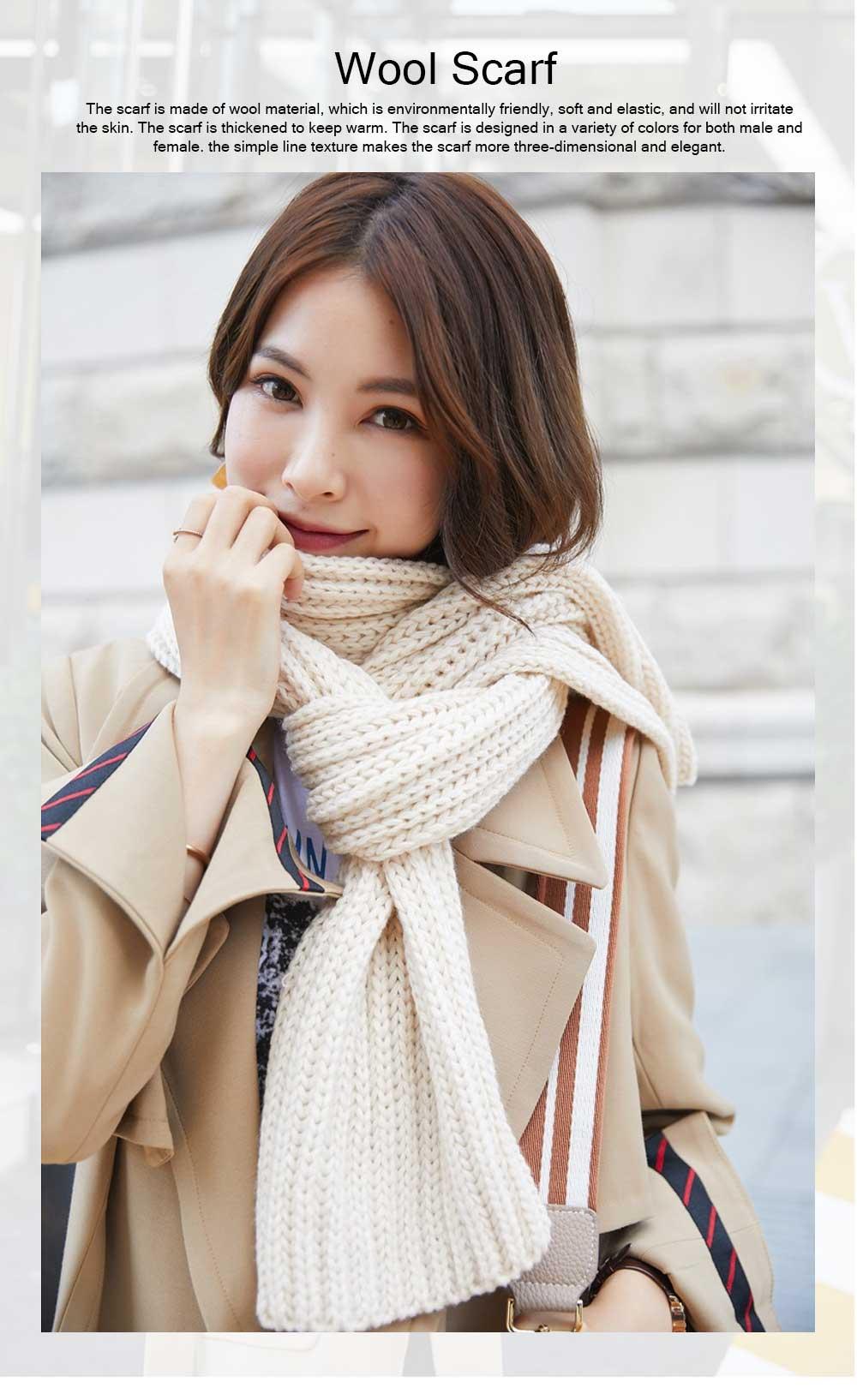 New Wool Scarf Soft Tippet Longitudinal Knitting for Women Men Keep Warm Skin-friendly Muffler Winter 0