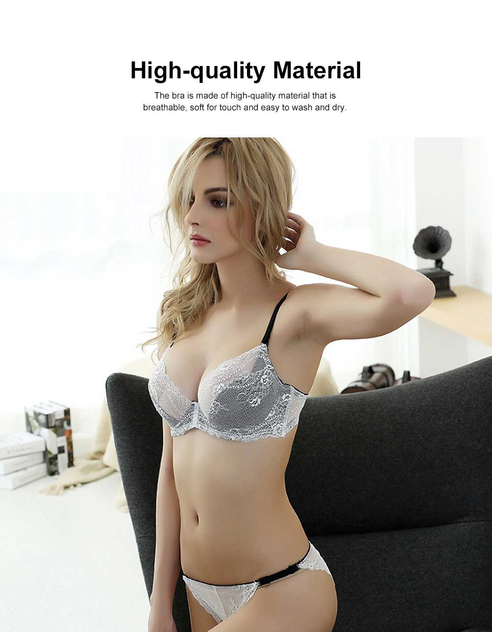 Women's Underwear Set Sexy Bra Set with Lace, Transparent Push-up Bra for Summer, Extra Large Size Bra and Panty Set 2