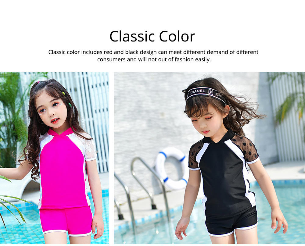 Two-piece Swimming Suit for Girls Wave Point Net Yarn Classic Color Separate Short-sleeve Swimwear 3
