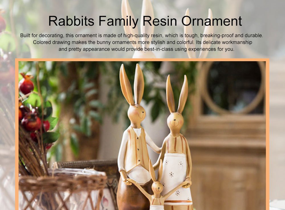 Creative Cute Rabbits Model Family Three Resin Ornament, Delicate Colored Drawing Bunny Weeding Celebration Table Decoration 0