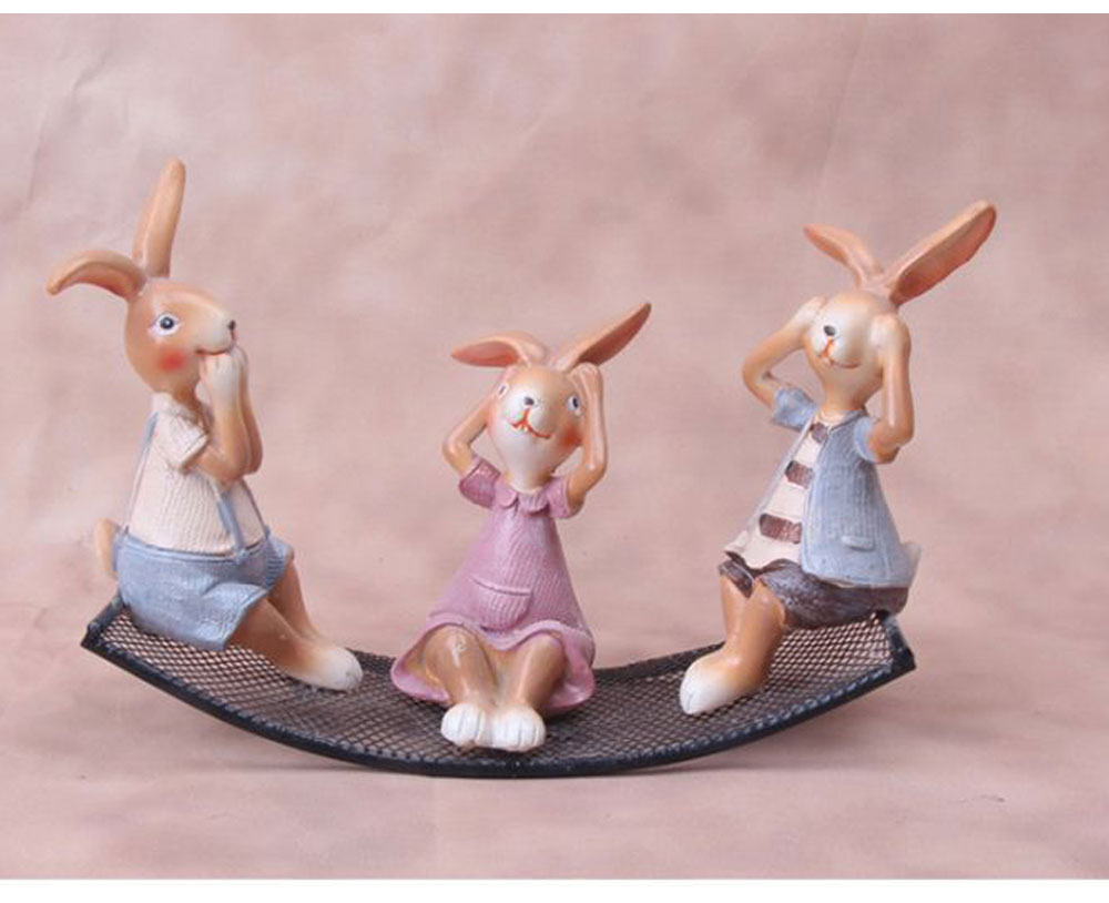 Creative Cute Delicate Rabbit Resin Metal Ornament Breaking-proof Bunny Living Room Study Table Decoration 2