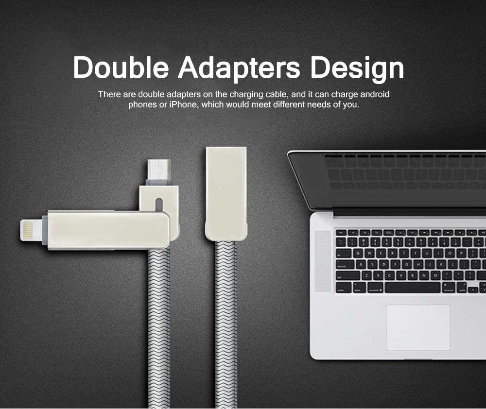 Flat Design Two-in-One Nylon Braided Android iPhone Charging Cable, Breaking-proof Anti-Twine USB Data Charging Line 5