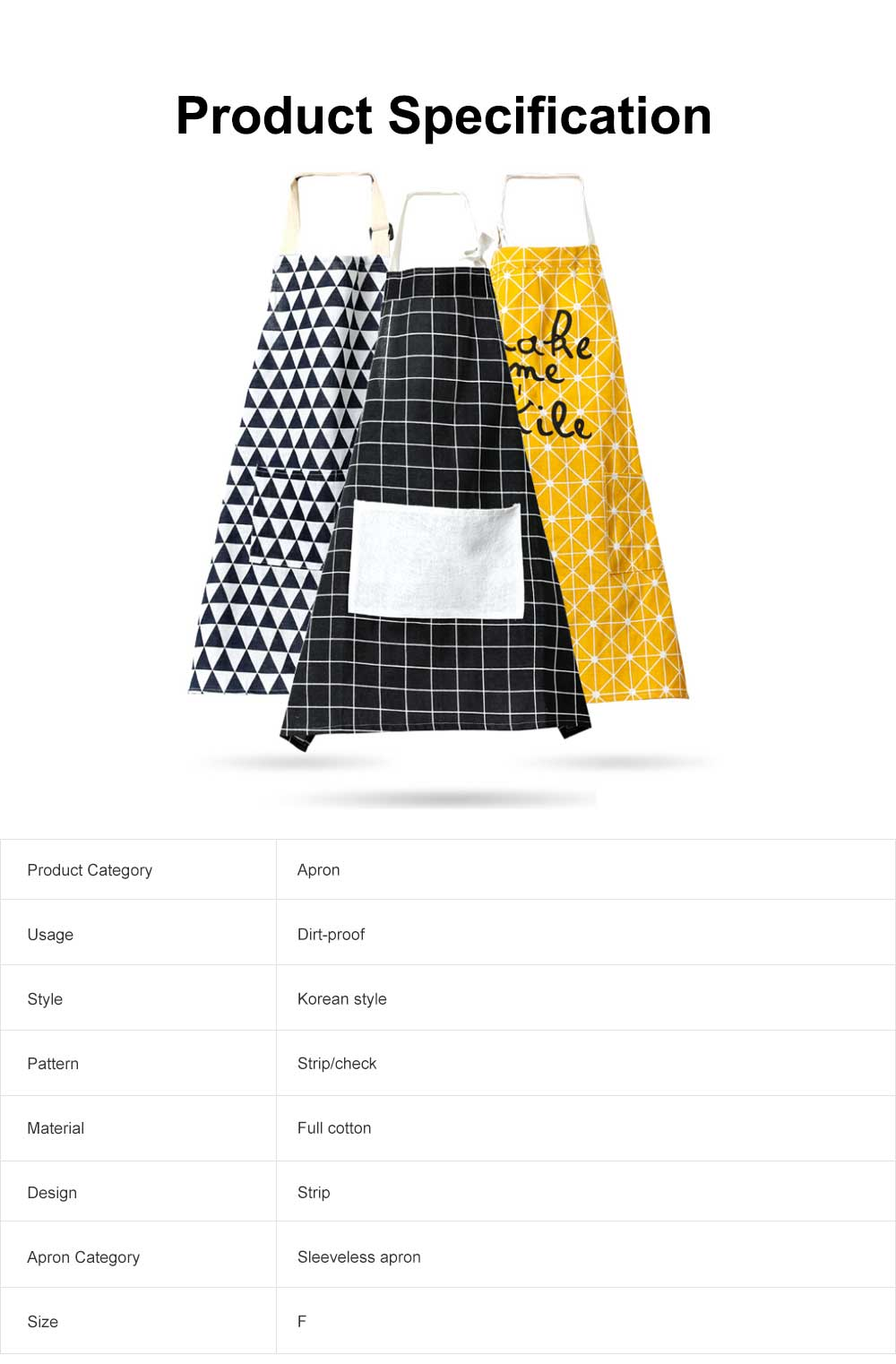 Fashionable Apron for Kitchen 100% Cooking Apron with Pocket Aprons with Strip Dot Printing Patterns Household Accessory 6