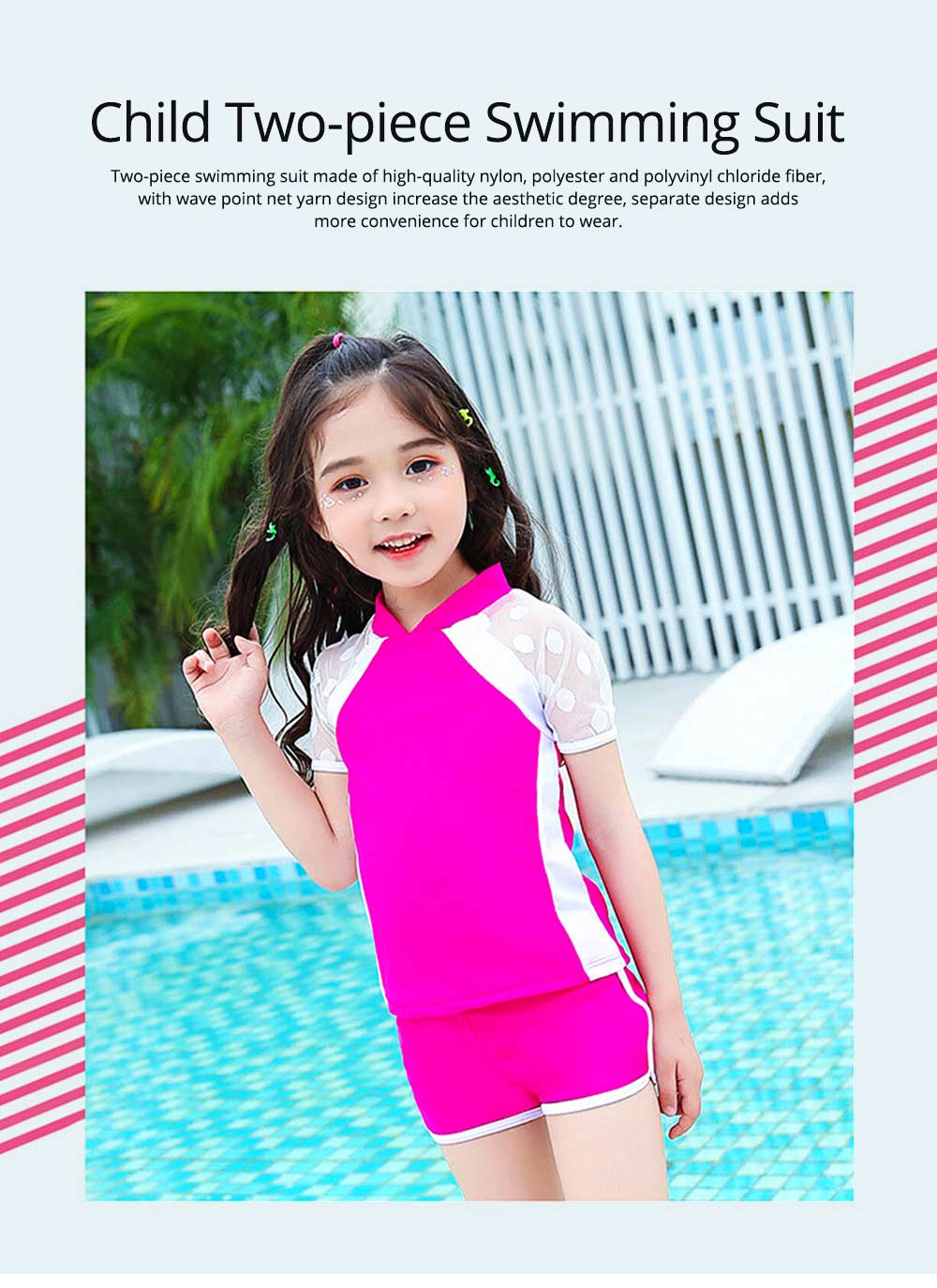 Two-piece Swimming Suit for Girls Wave Point Net Yarn Classic Color Separate Short-sleeve Swimwear 0