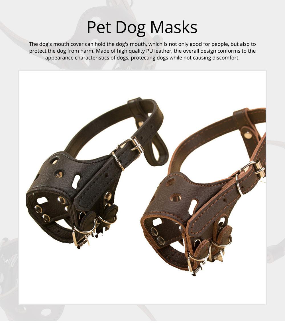 Adjustable Pet Dog Masks PU Leather Dog bark arrester Dog Stop Barking Bite-proof Cover 0