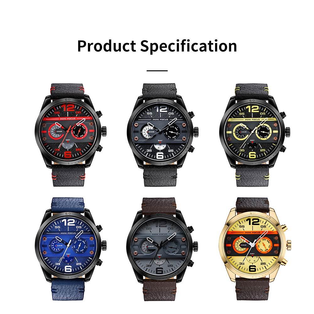 Mechanical Style Men's Quartz Watch Waterproof Businessman Watch Fashion Accessory 3 Dial Plates 6 Pointers Wrist Watch 6