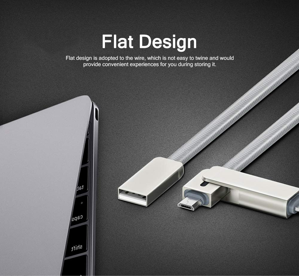 Flat Design Two-in-One Nylon Braided Android iPhone Charging Cable, Breaking-proof Anti-Twine USB Data Charging Line 3