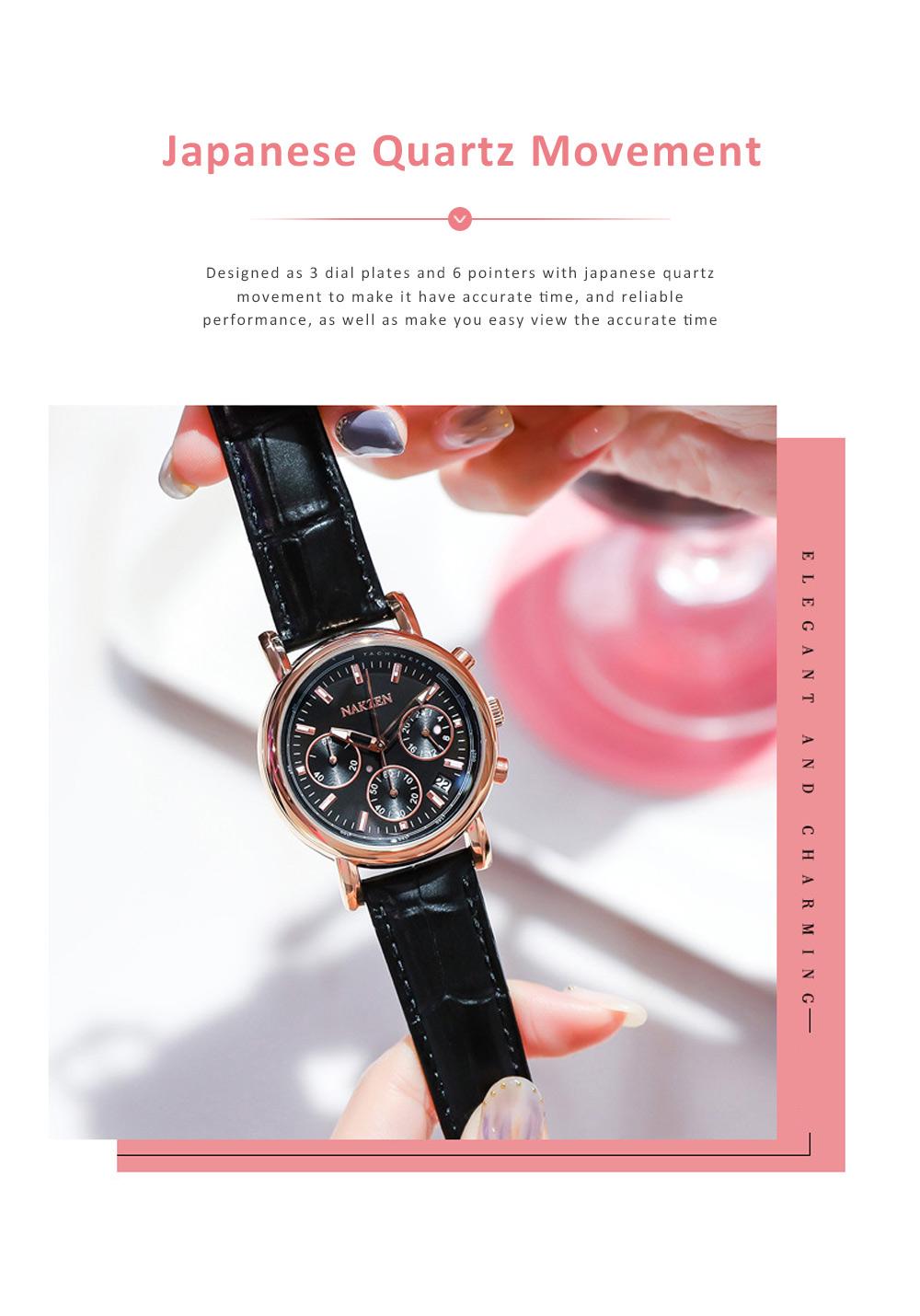 Fashion Women Watch Japanese Quartz Movement Wrist Watch with Calendar Genuine Leather Watch Strap Quartz Watch 4