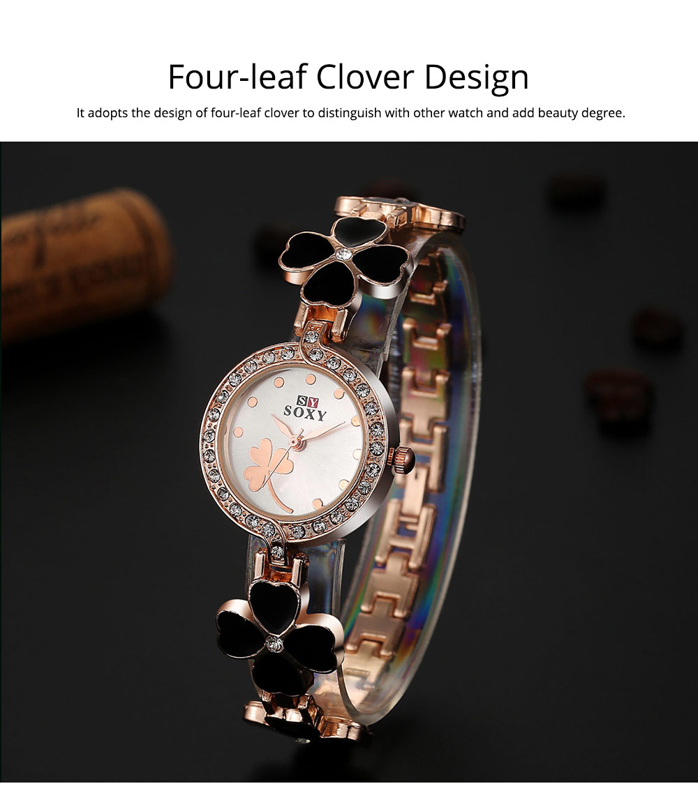 Four-leaf Clover Lady Watch Circular Dial Fashion Style Pin Buckles Stainless Steel Sturdy and Durable Ceramic Wristwatch 1
