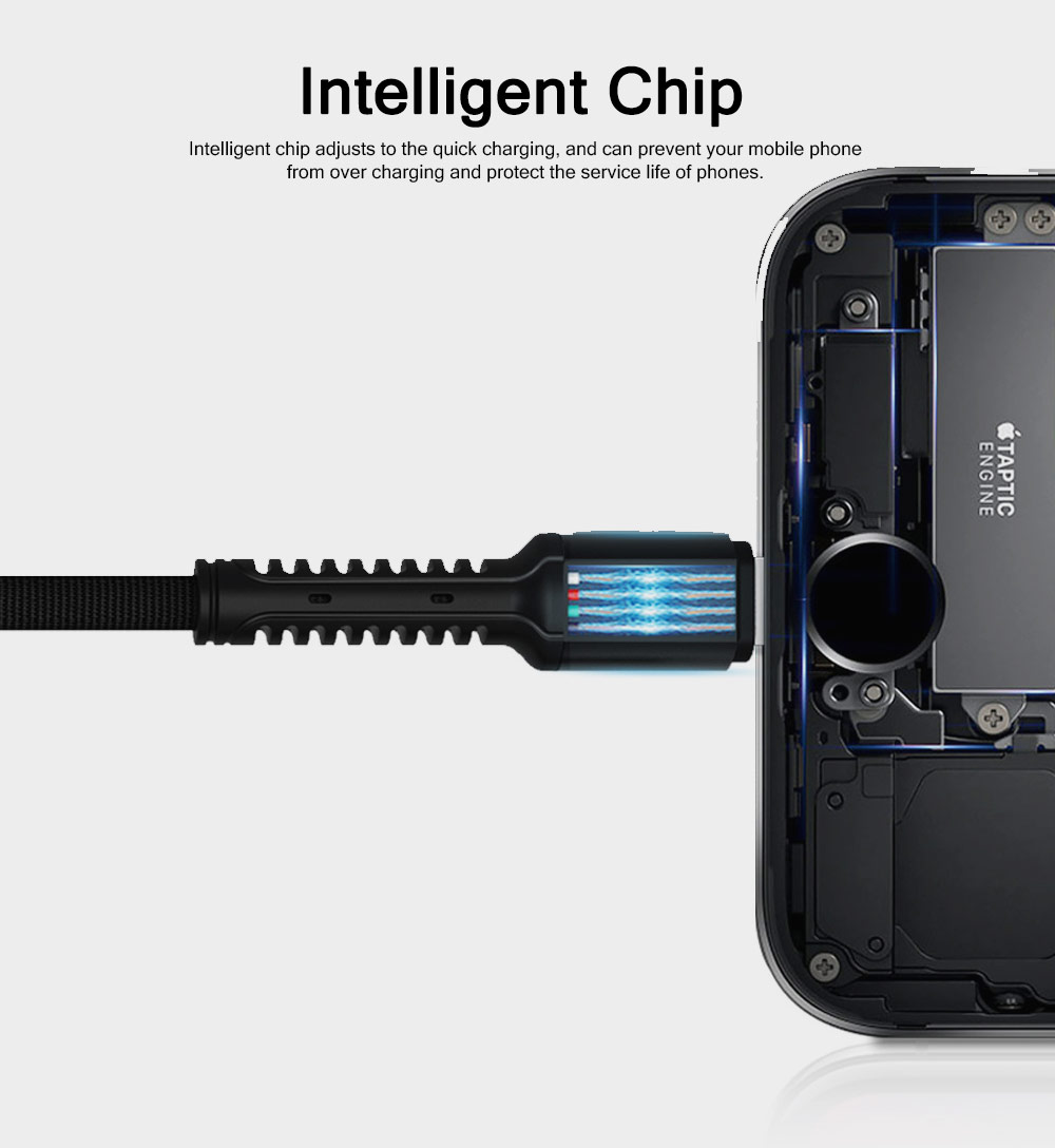 Wear-resisting Breaking-proof Android iPhone Type-C Denim Data Charging Cable, Durable Thicker Copper Core Speed-up Charging USB Phone Charging Wire 3