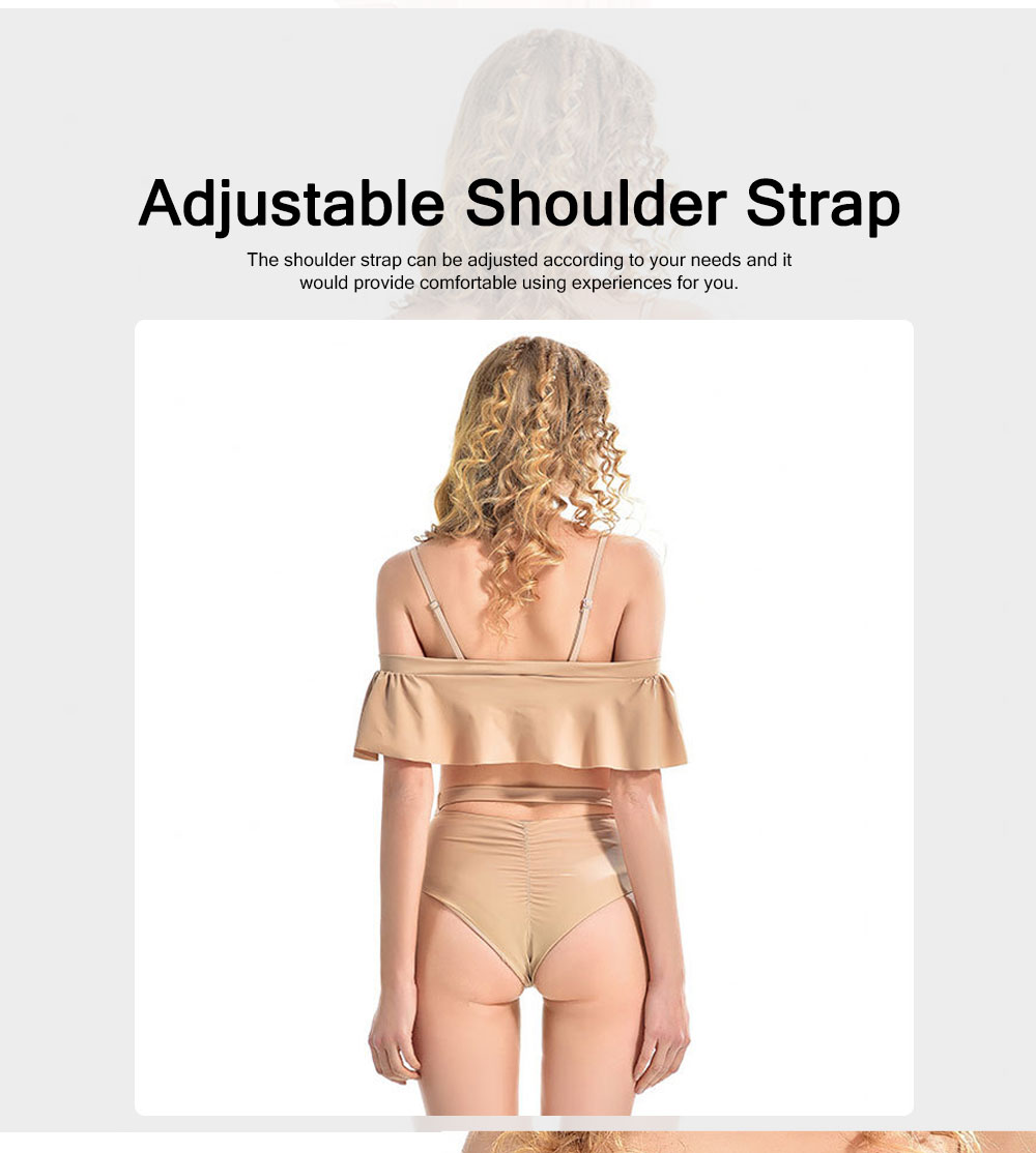 Sexy Cute Ruffles Nude Conjoined Ladies Swimsuit Adjustable Shoulder Straps Breathable Soft Swimwear for Women 2