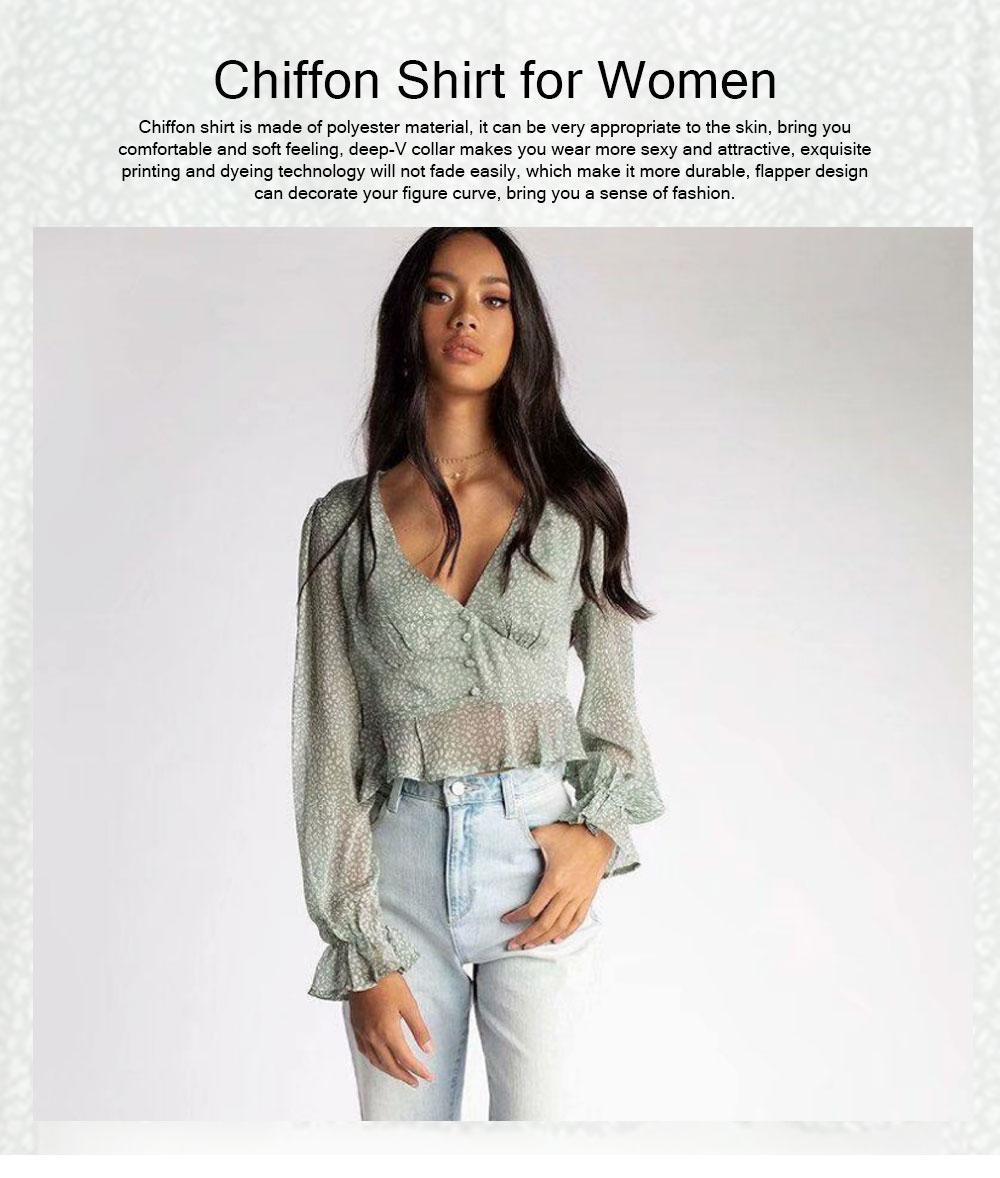 Lady Chiffon Shirt Deep-v Collar Flapper Tops Garment Design Long Sleeve Green Georgette Clothe for Women 0