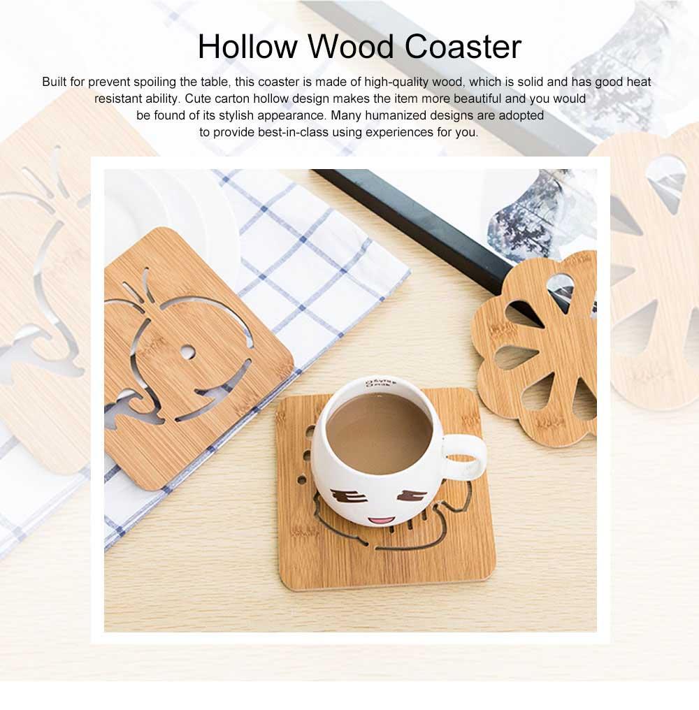 Delicate Creative Carton Hollow Wooden Coaster Thicken Anti-scalding Drink Tea Coffee Cup Mat Tableware 0