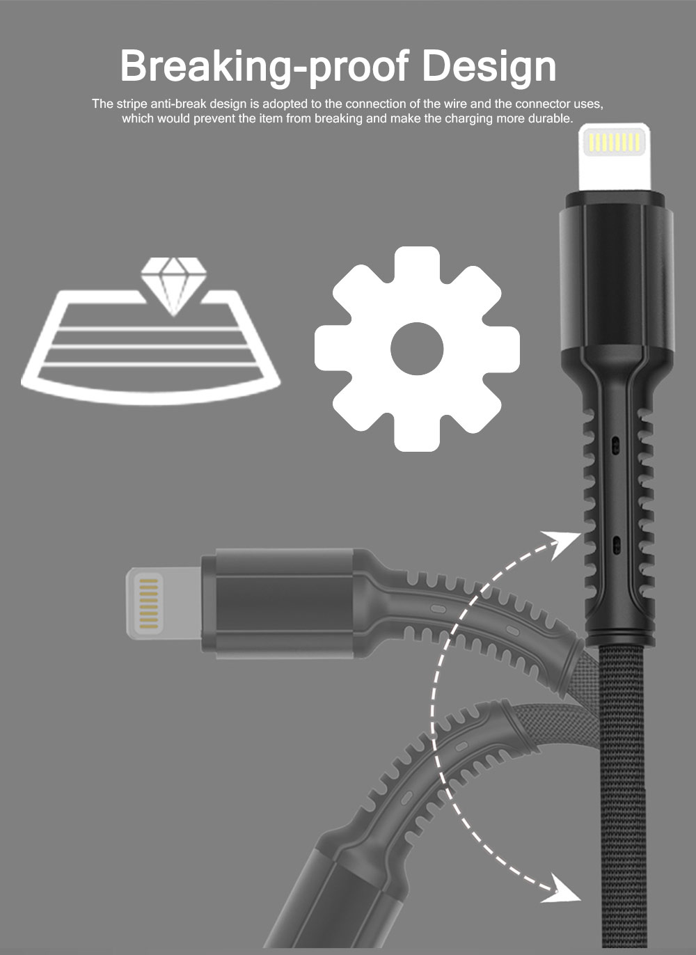 Wear-resisting Breaking-proof Android iPhone Type-C Denim Data Charging Cable, Durable Thicker Copper Core Speed-up Charging USB Phone Charging Wire 4