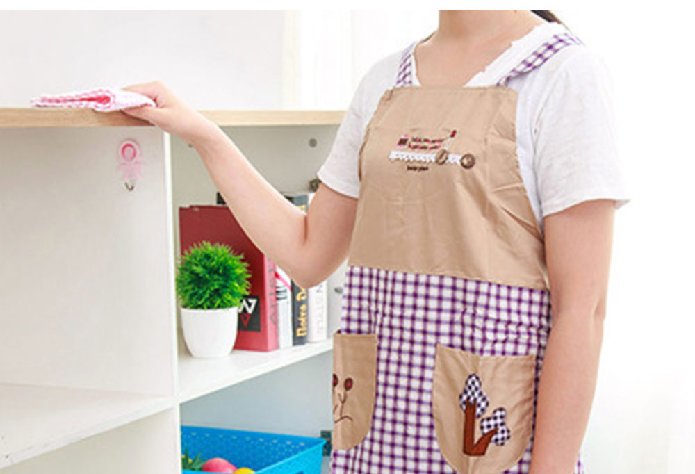 Cute Trees Embroidery Plaid Women Men Apron Dress, Home Kitchen Restaurant Antifouling Adjustable Apron with Pockets 2