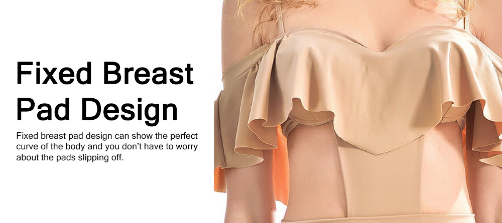 Sexy Cute Ruffles Nude Conjoined Ladies Swimsuit Adjustable Shoulder Straps Breathable Soft Swimwear for Women 3