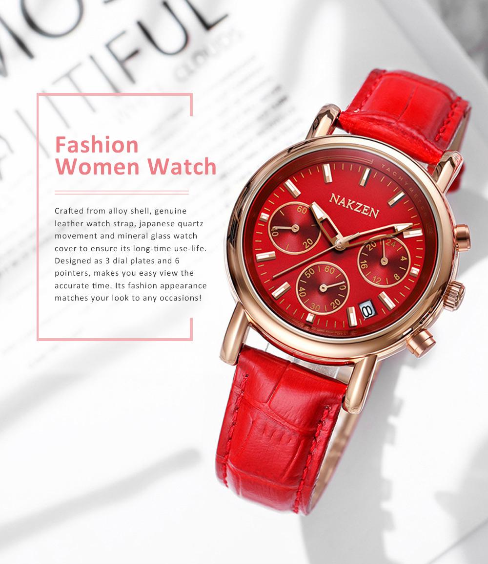 Fashion Women Watch Japanese Quartz Movement Wrist Watch with Calendar Genuine Leather Watch Strap Quartz Watch 0