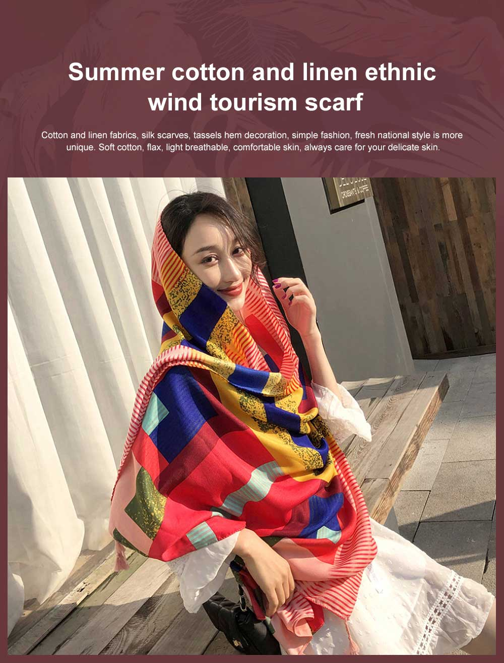 Summer cotton and linen ethnic wind tourism scarf, Holiday sunscreen scarf, Lady's Air Conditioning Shawl 0