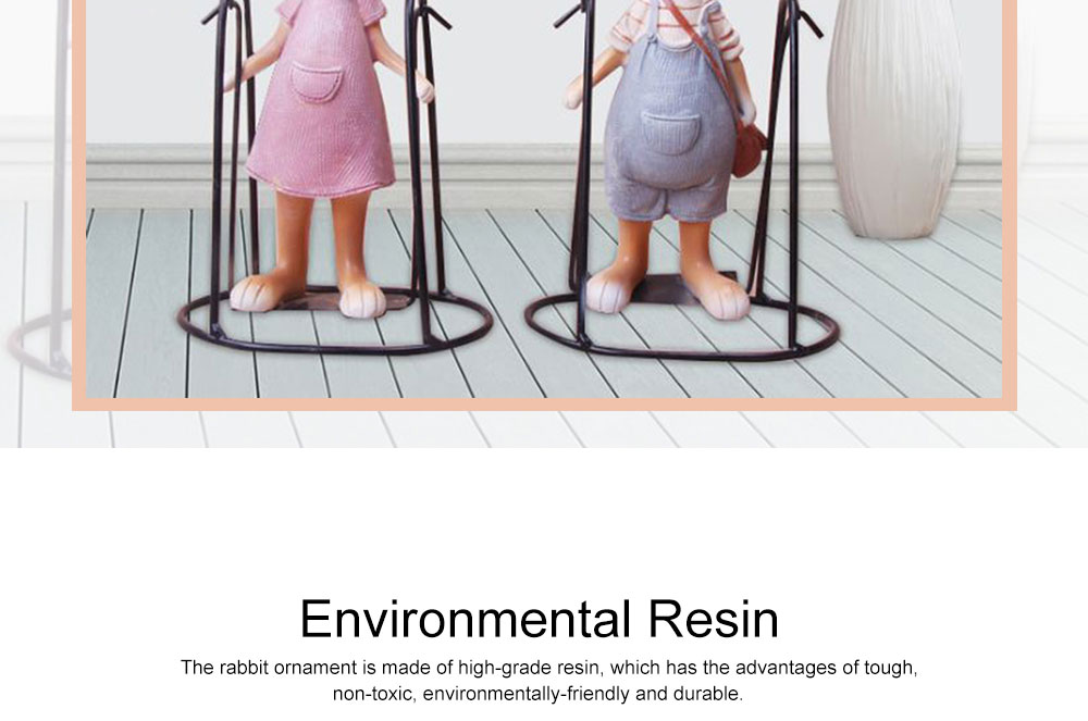 Creative Cute Delicate Rabbit Resin Metal Ornament Breaking-proof Bunny Living Room Study Table Decoration 1