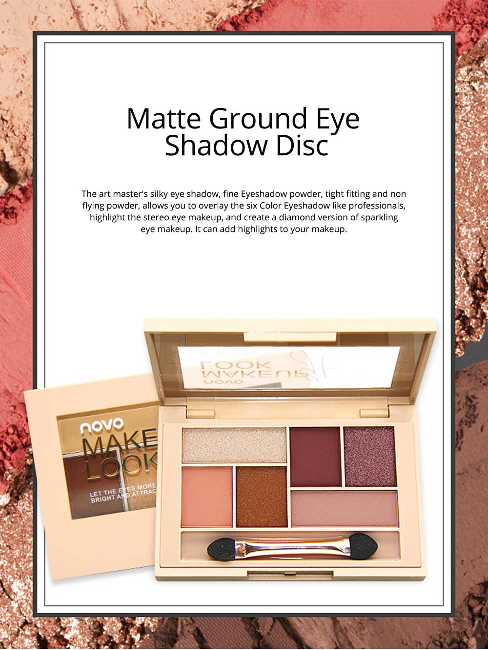 Matte Ground Eye Shadow Disc Silky Six Eyeshadow, Pearl light Matte Color Eye Shadow Disc Make-up Tool for beginners 0