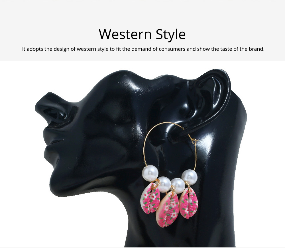 Pearl Shell Earring for Women Western Style Roundness Multicolor Optional Environment Friendly Ear Stud 1