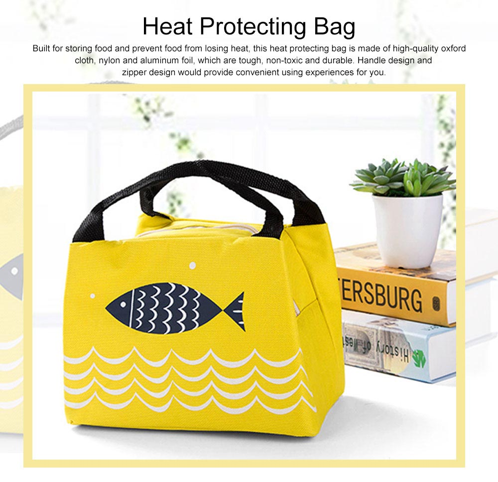 Cute Fish Painting Handheld Heat Protecting Bag, Waterproof Wearable Oxford Cloth Portable Insulation Handle Bag Picnic Pack 0