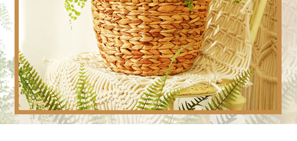 Creative Minimalist Garden Straw Weaving Flower Basket, Delicate Rattan Weaving Storing Basket Decoration with Double Handle 1