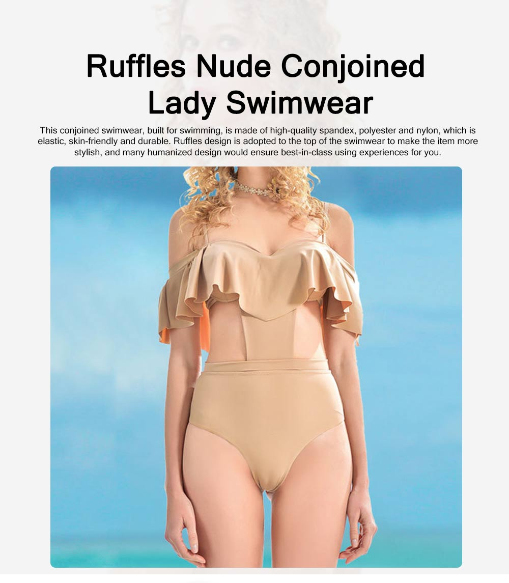 Sexy Cute Ruffles Nude Conjoined Ladies Swimsuit Adjustable Shoulder Straps Breathable Soft Swimwear for Women 0