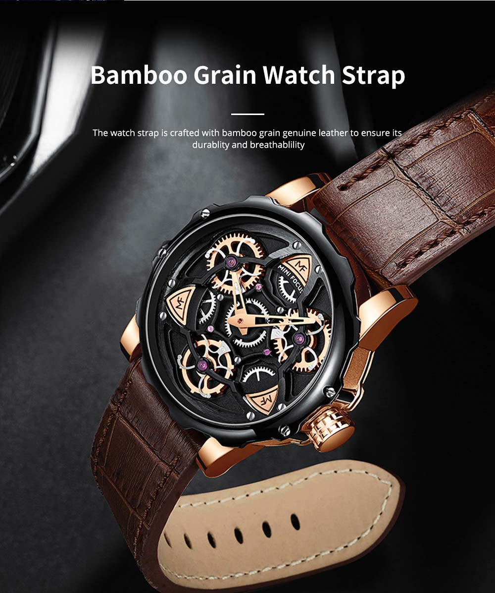 Men's Mechanical Watch Japanese Movement Business Quartz Watch with Gear Gyro Leather Watch Band 2