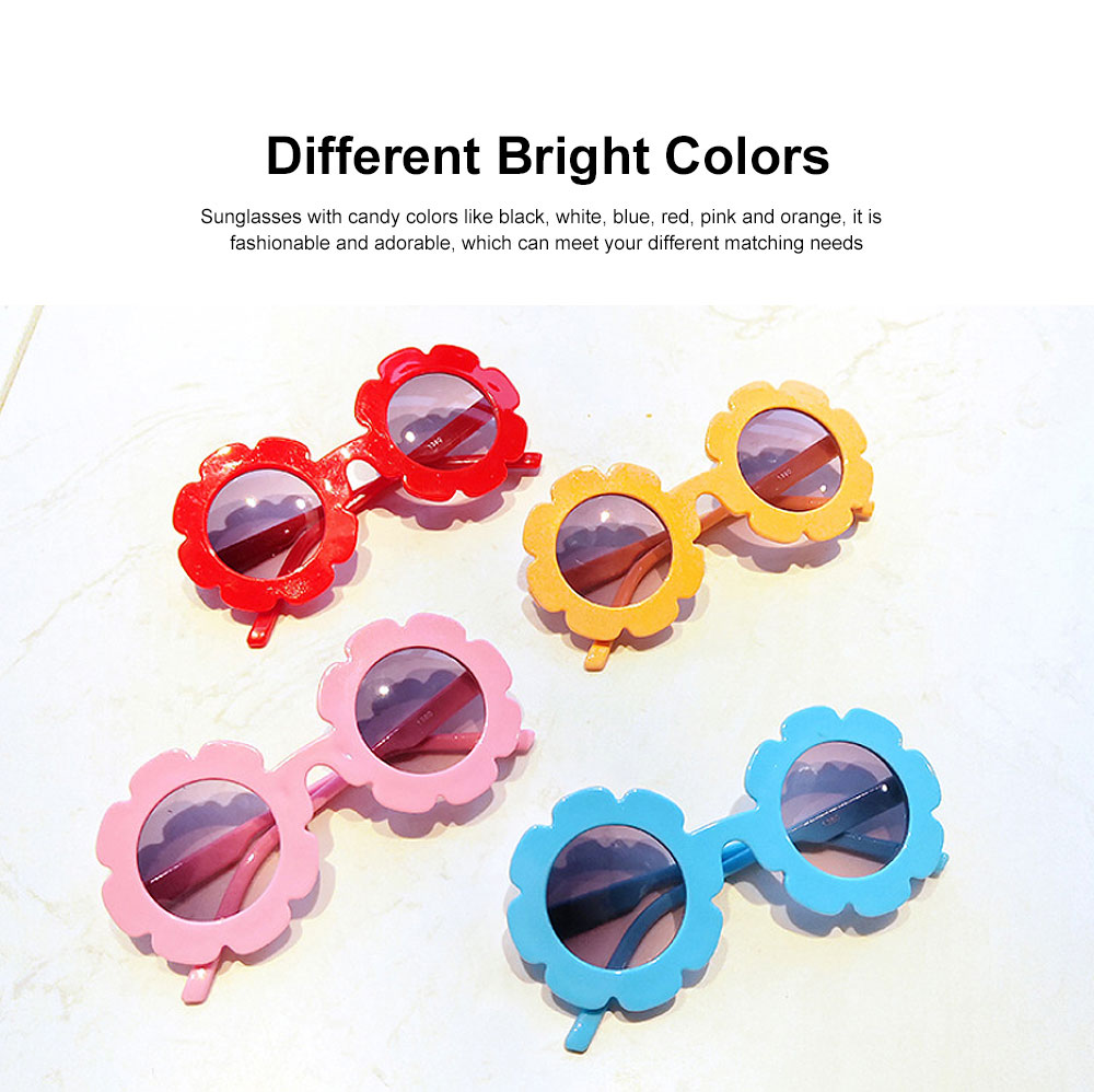 Baby Kids Vintage Flower Round Anti-UV Sunglasses Colorful Cute Eyewear for Party Photography Outdoor Beach 4