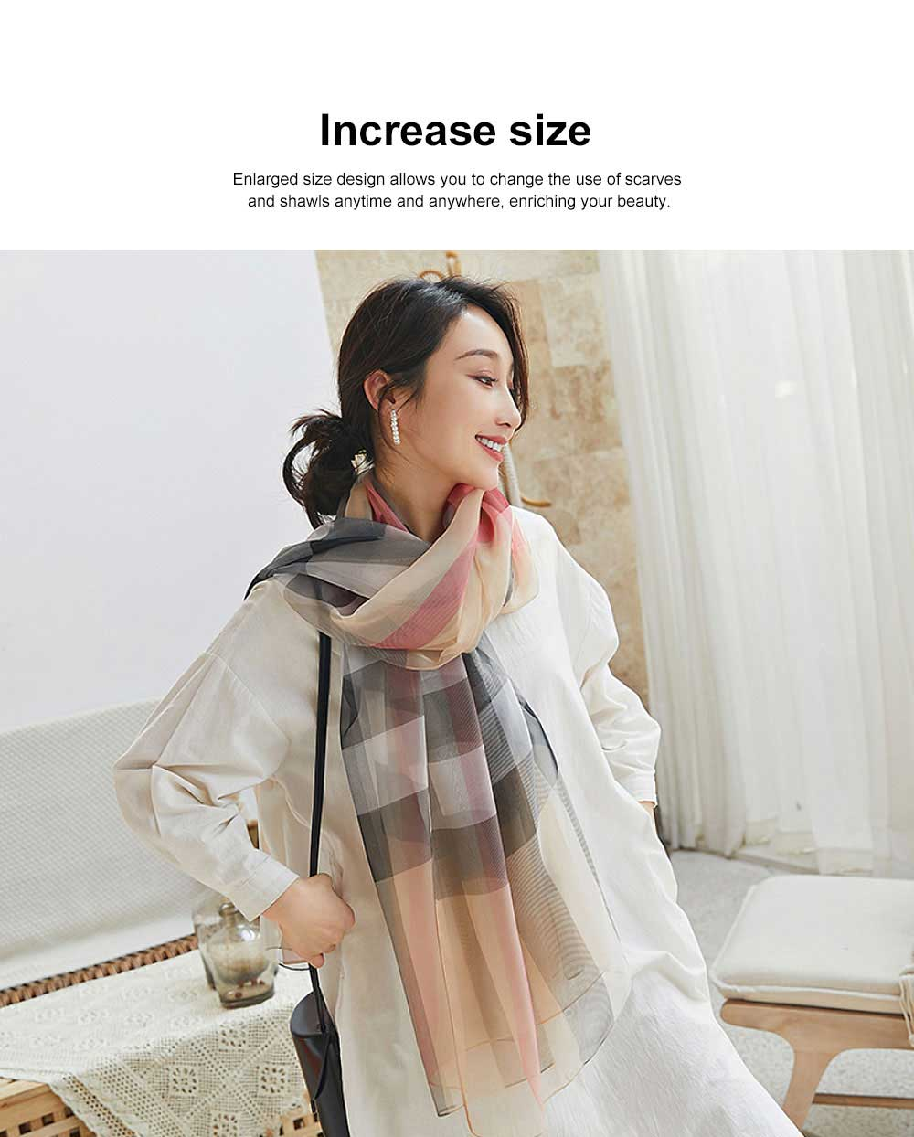 2019 Hot Gradient Grid Pants Scarf, New Sunscreen Scarf Shawl in Spring and Summer for Girl Lady 2
