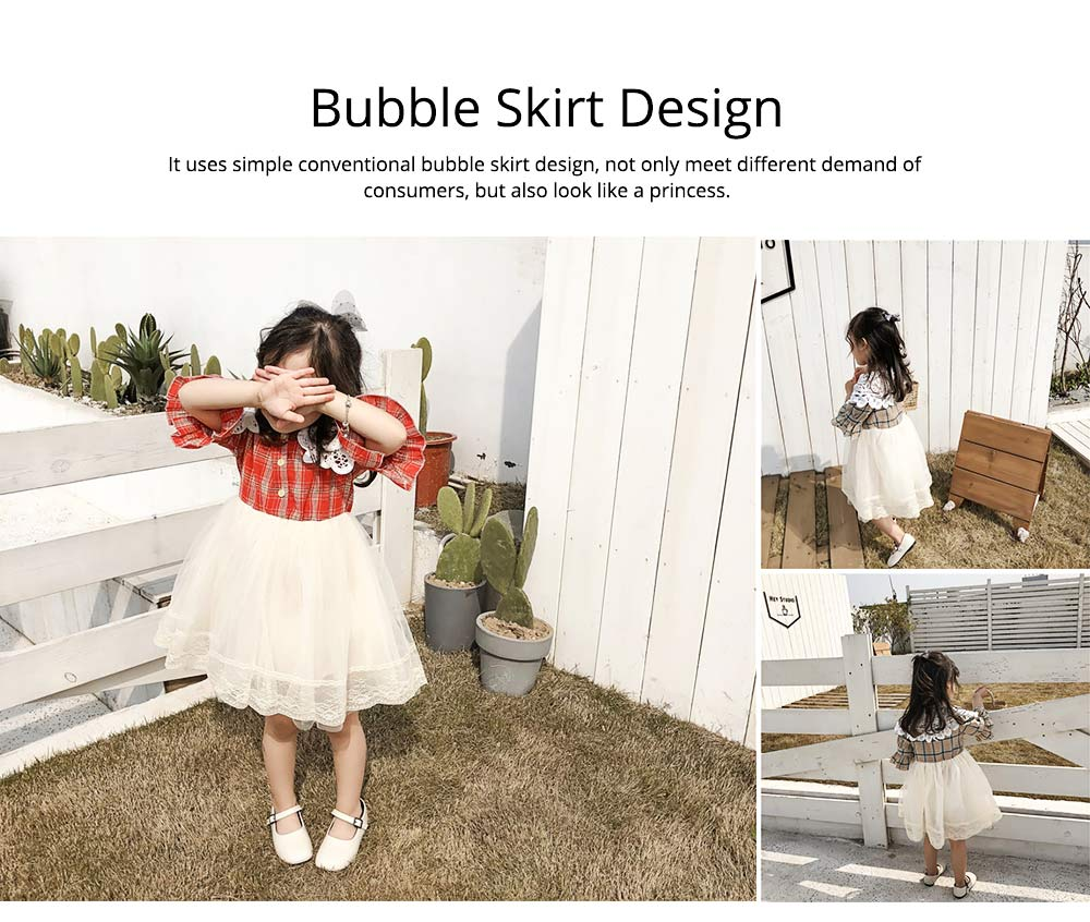 Plaid shirt Bubble Dress for Girls Double-side Shoulder Lace High-quality Cotton Fabric Lining Sweet Style One-piece 4