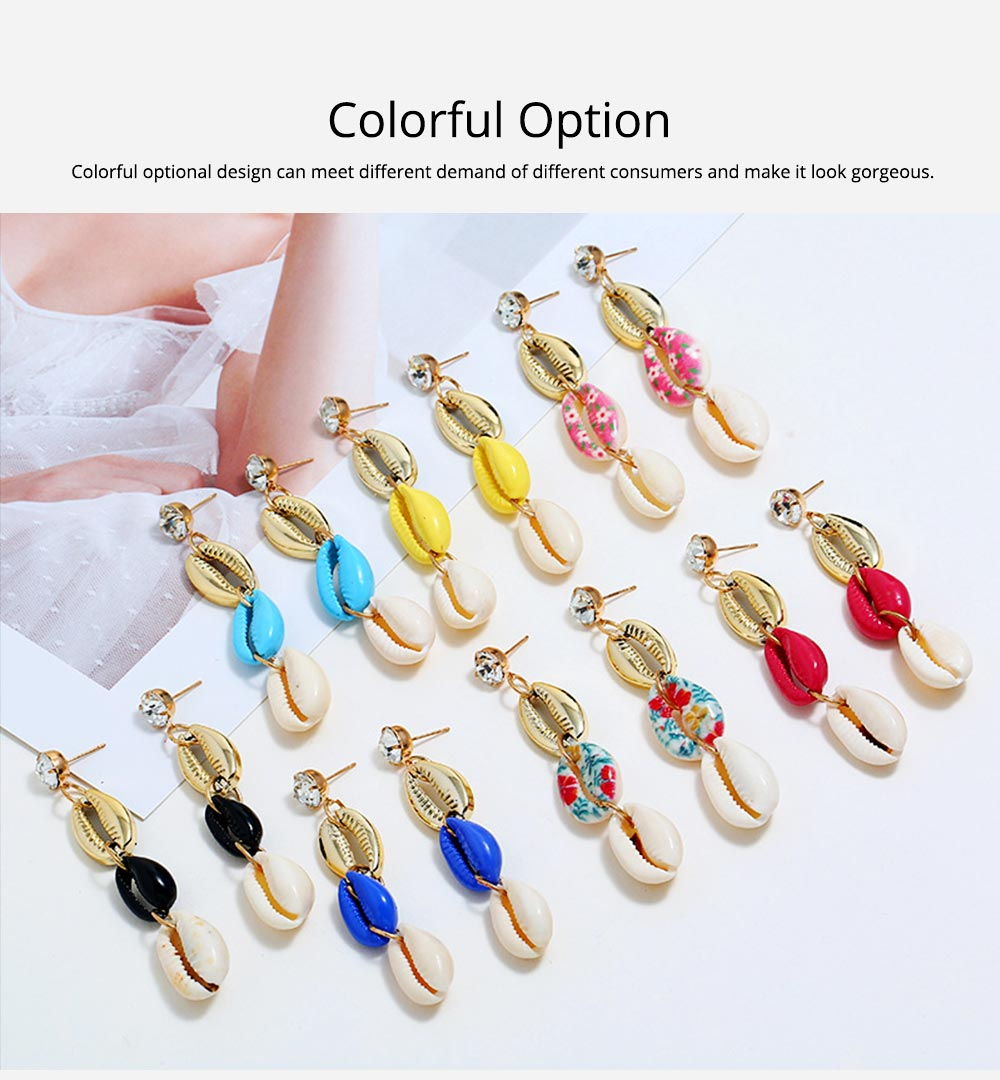 Long Conch Earrings for Women Colorful Option Set Auger Design Western Style Multilayer Colored Shell Stud Earring 3