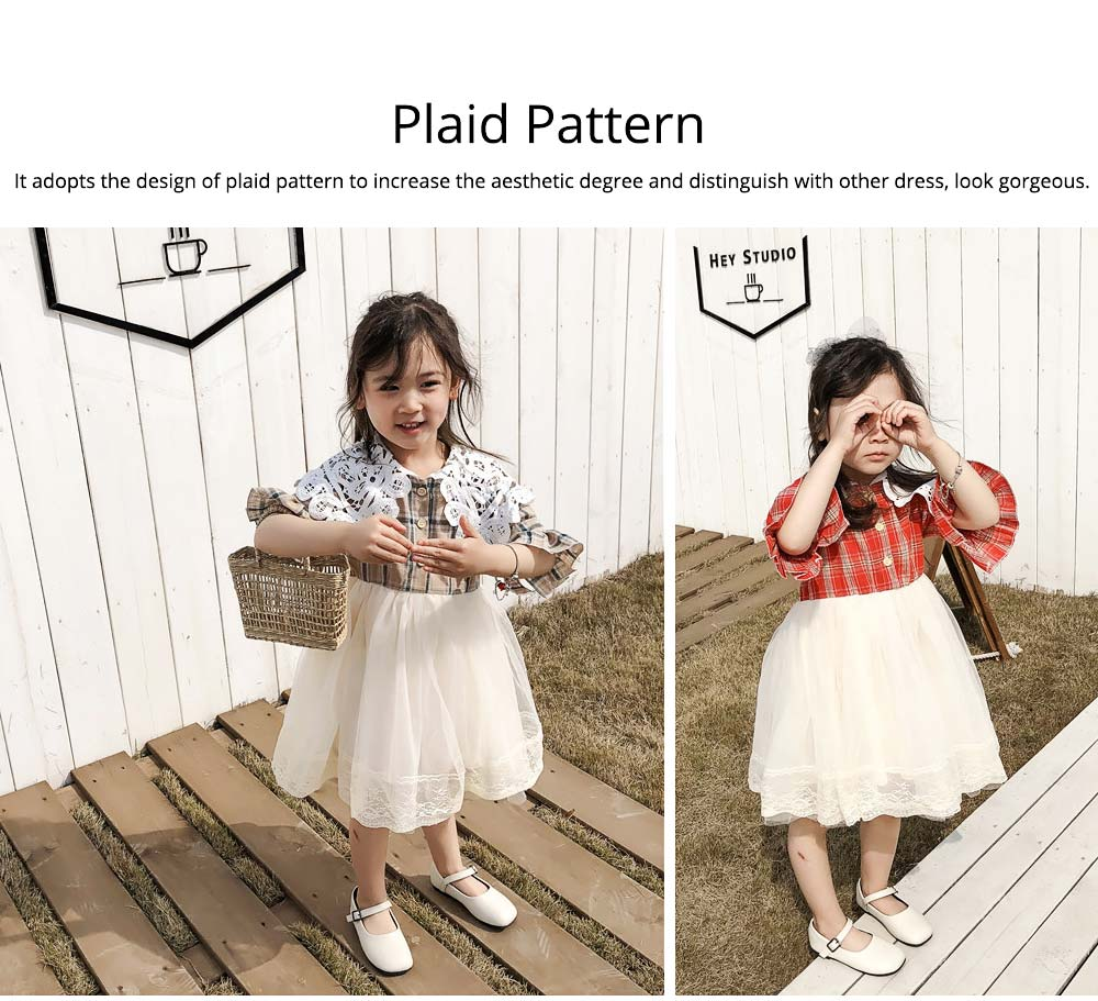 Plaid shirt Bubble Dress for Girls Double-side Shoulder Lace High-quality Cotton Fabric Lining Sweet Style One-piece 1