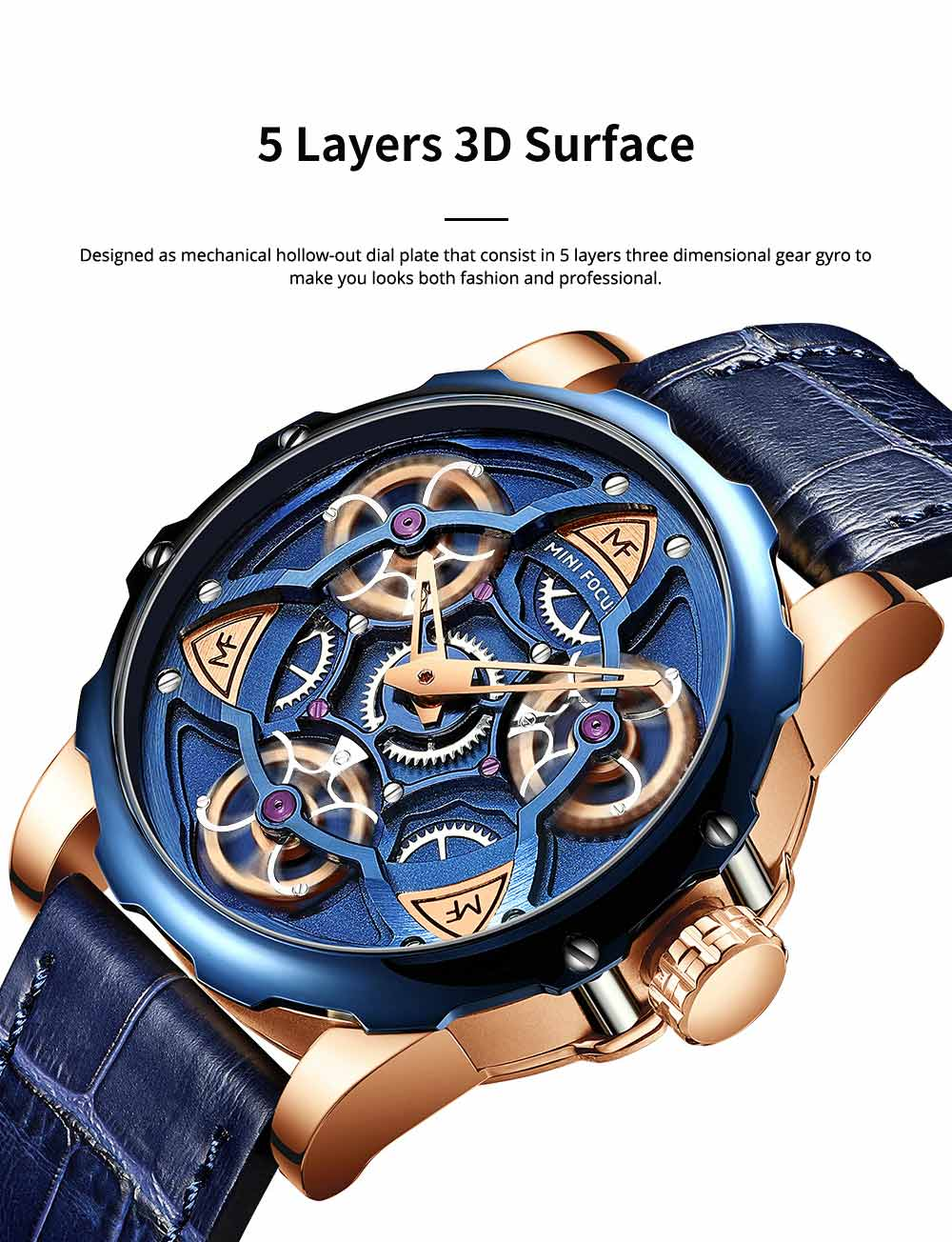 Men's Mechanical Watch Japanese Movement Business Quartz Watch with Gear Gyro Leather Watch Band 1