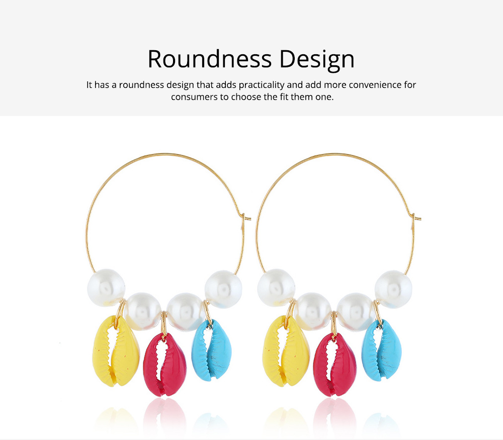 Pearl Shell Earring for Women Western Style Roundness Multicolor Optional Environment Friendly Ear Stud 2