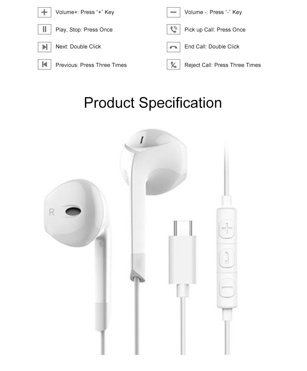 Quality Type-c Huawei P20 pro Xiaomi 8 se Wired In-ear Earphone, Delicate Mega Bass Denoise Wired Ear phone for Android Smart Phone 9