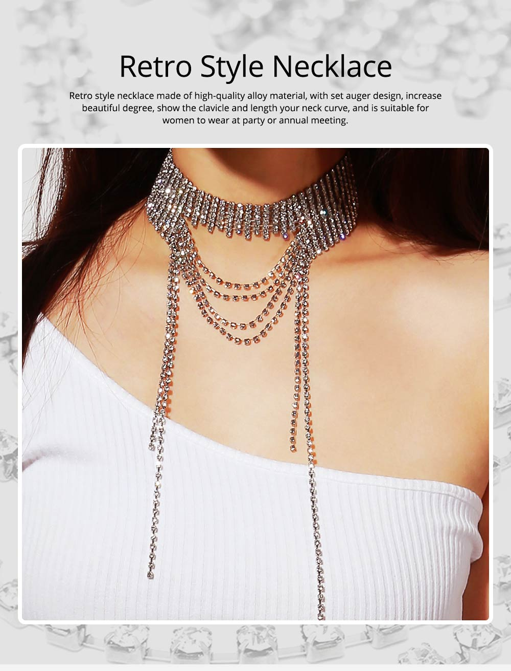 Retro Style Necklace for Women Set Auger Show the Clavicle Multilayer Alloy Material Collarbone Chain 0