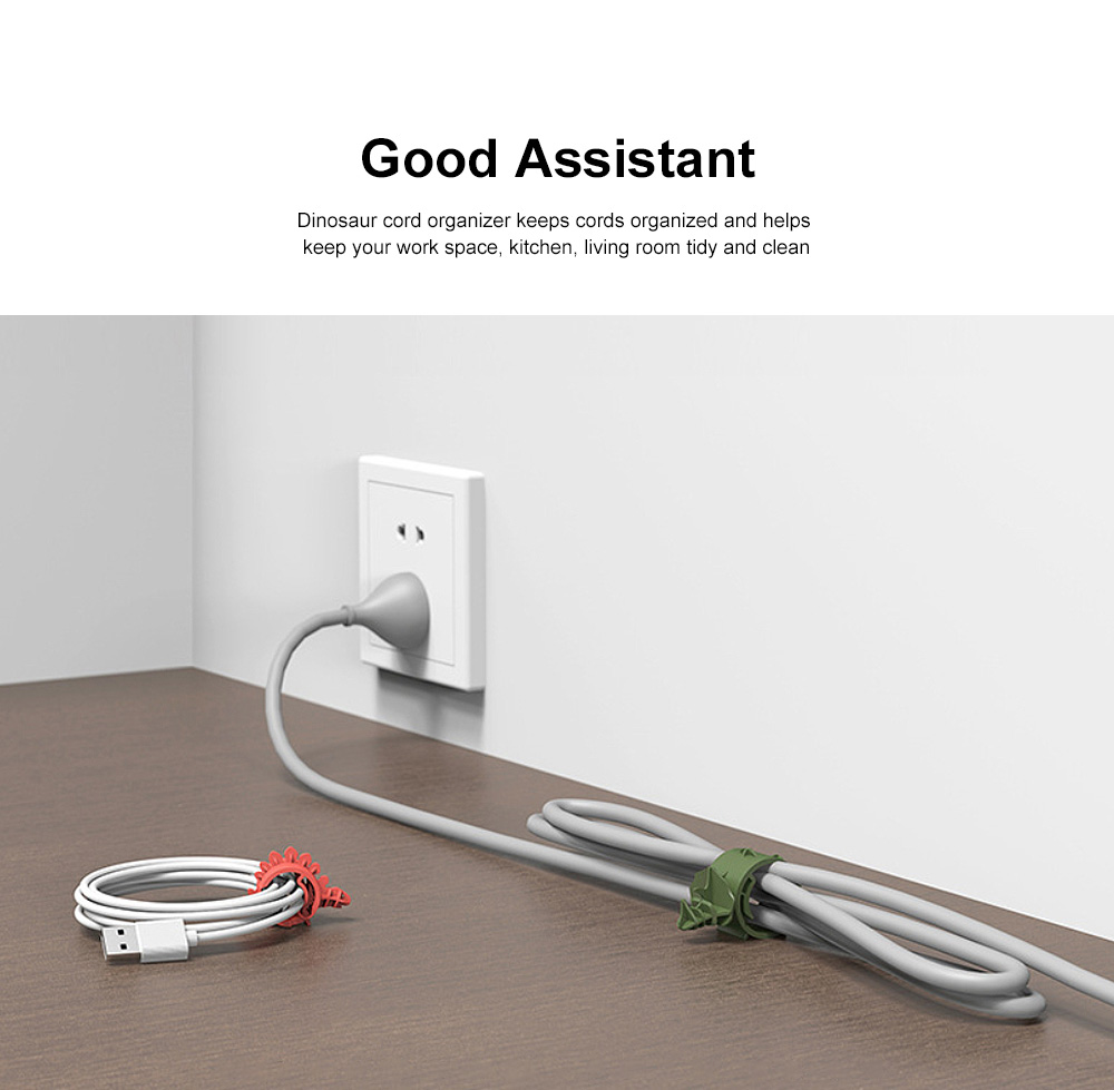 4PCS Cute Dinosaur Cord Organizer Adjustable PA Cable Wire Storage for Home, Office, Travel 2