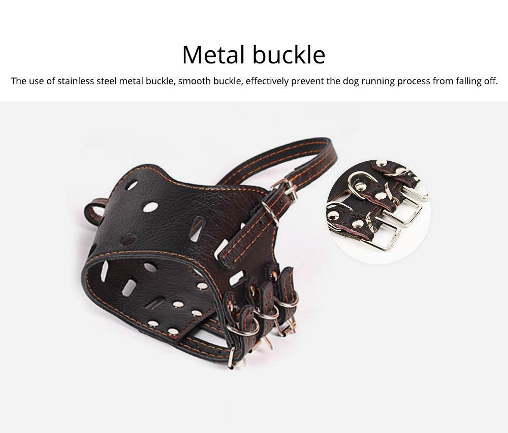 Adjustable Pet Dog Masks PU Leather Dog bark arrester Dog Stop Barking Bite-proof Cover 5