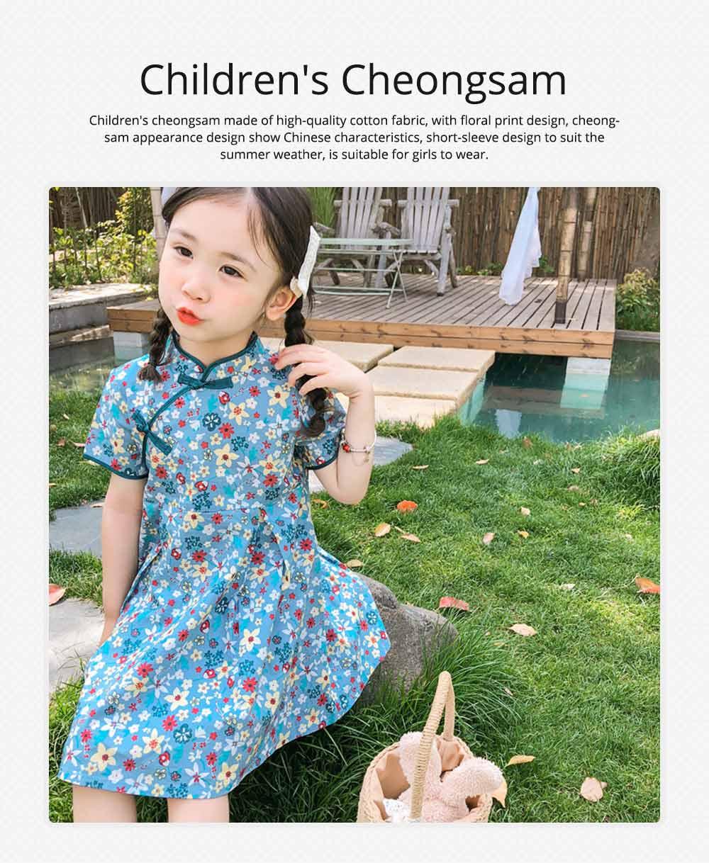 Girls Cheongsam Floral Print Retro Style Short-sleeve Skin-friendly Breathable One-piece Dress Summer 0