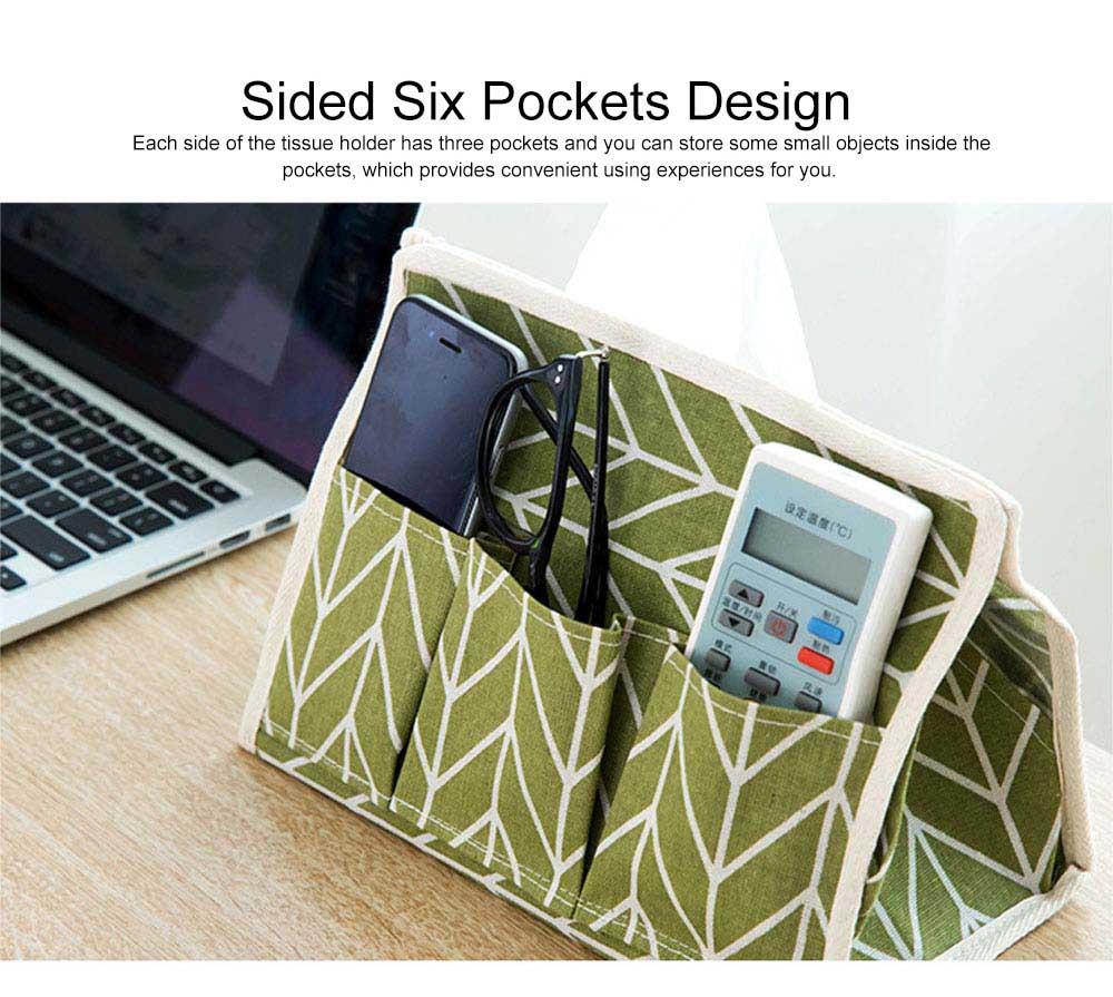 Minimalist Functional Geometric Pattern Tissue Box Cover, Waterproof Wearable Cotton Linen Facial Paper Organizer Holder 4