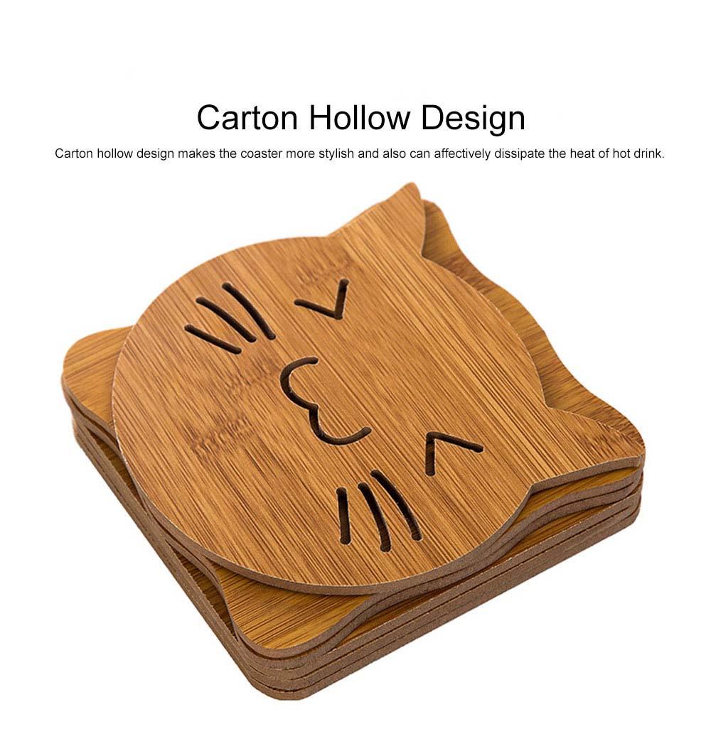 Delicate Creative Carton Hollow Wooden Coaster Thicken Anti-scalding Drink Tea Coffee Cup Mat Tableware 2