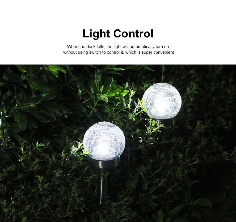 2pcs Solar-Powered Garden LED Light Environmental & Power-Saving Glass Crystal Ball Light Innovative Ambient Light Decoration for Outdoor Yard Lawn Ground 5